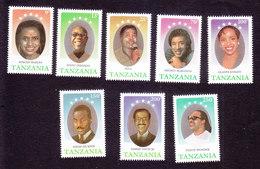 Tanzania, Scott #580-587, Mint Hinged, Black Entertainers, Issued 1990 - Tanzania (1964-...)
