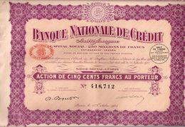 Ensemble De 16 Actions 500 F Au Porteur - Banque Nationale De Crédit -1923 - Actions & Titres