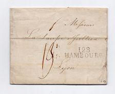 !!! PRIX FIXE : DEPT CONQUIS, 128 BOUCHES DE L'ELBE, MARQUE POSTALE DE HAMBOURG SUR LETTRE DE 1812 - Postmark Collection (Covers)