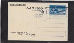 France Entiers Postaux Commémoratifs - 55c Bleu Mémorial Américain De La Pointe De Grave - Postal Stamped Stationery