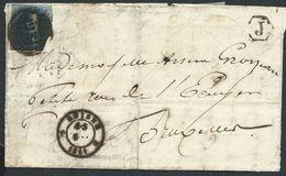 L Très Défraîchie Affr. 20c Bleu Distribution 86 *RHISNES*/1858 + Boîte J De Temploux Pour Bruxelles - 1858-1862 Médaillons (9/12)