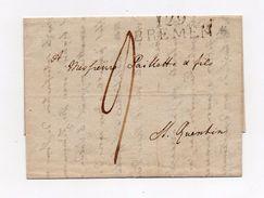 !!! PRIX FIXE : DEPT CONQUIS, 129 BOUCHES DU WESER, MARQUE POSTALE DE BREMEN SUR LETTRE DE 1813 - Postmark Collection (Covers)