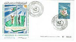 ALGERIE - Enveloppe 1er Jour - 1er Anniversaire De L'indépendance - Oran 1963 - Numérotée N°8629 - - Algeria (1962-...)