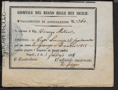 GIORNALE DELLE DUE SICILIE - TALLONCINO DI ASSOCIAZIONE 1855 - Vecchi Documenti