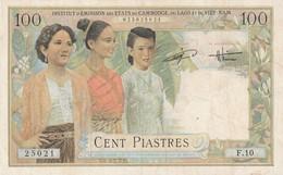 Billet De 100 Piastres Institut D'emission Des Etats Du Cambodge Laos Viet NamTB - Cambodia