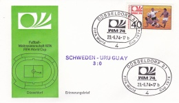 Germany Cover 1974 World Cup FIFA Football Germany - Düsseldorf Sweden-Uruguay 3:0 (DD9-31) - Coppa Del Mondo