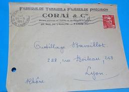 Lettre 1951 Entête Fabrique Tarauds Filières Corai  FlammeParis IX  Sur Gandon Rouge  15 Fr - Marcophilie (Lettres)