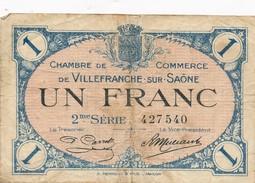 G503 - Billet 1 Franc - Chambre De Commerce De Villefranche-sur-Saône - 1918 - Chambre De Commerce