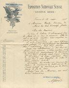 1711 - EXPOSITION NATIONALE SUISSE GENÈVE 1896 - Briefbogen Vom 13.8.1895 - Suisse