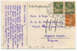 1712 - EIDG. MUSIKFEST IN ZUG 26.VII.23 Auf Offizieller Fest-Postkarte Nach BELGIEN - Poststempel