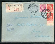 France - Enveloppe En Recommandé De Bordeaux Pour Caen En 1947 , Affr. Gandon / Mazelin - Ref N 227 - Postmark Collection (Covers)