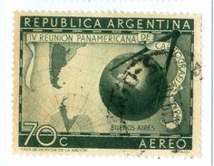 ARGENTINA, POSTA AEREA, AIRMAIL, COMMEMORATIVO, CARTOGRAFIA, 1948, FRANCOBOLLI USATI,  Y T PA32    Scott C56 - Argentina