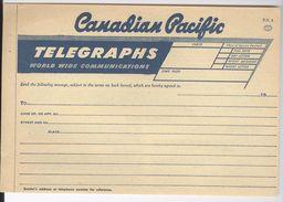 Canadian Pacific. Telegraphs . Formulaire De Message à Télégraphier - Bateaux