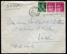 France - Enveloppe De Nancy Pour La Suisse En 1939 - Ref N 250 - Marcophilie (Lettres)