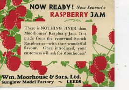ADVERT - Wm MOORHOUSE & SONS RASPBERRY JAM 1929 - Advertising
