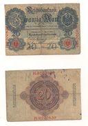1 Gebrauchte Banknote Laut Abbildung 20 Mark 21.4.1910 - 20 Mark