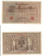 1 Gebrauchte Banknote Laut Abbildung 1000 Mark 21.4.1910 Rote Serie - [ 2] 1871-1918 : German Empire