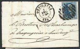 L Affr 20c Bleu  P8b 168 OTTIGNIES/1863 Pour Bracquegnies - 1863-1864 Medallions (13/16)