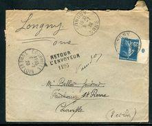 France - Enveloppe De Longny Pour Courville En 1920 Et Retour, Affr. Semeuse Millésime O- Ref N 255 - Marcophilie (Lettres)