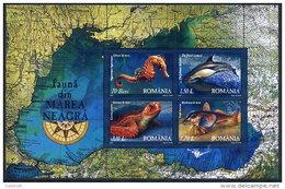 ROMANIA 2007 Black Sea Fauna Block MNH / **.  Michel Block 393 - 1948-.... Republics