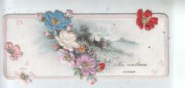 Fantaisies - Mes Meilleurs Voeux - Carte Emboutie  Relief Couleur -  Fleurs En Tissu Multicouleurs CPA - Nouvel An