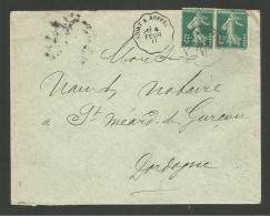 Convoyeur NIORT A RUFFEC / Enveloppe 1911 Pour La DORDOGNE - Marcophilie (Lettres)