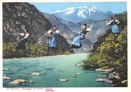 Cartolina Vocca Valsesia Passaggio Sul Sesia Illustrata Abiti Tradizionali - Vercelli