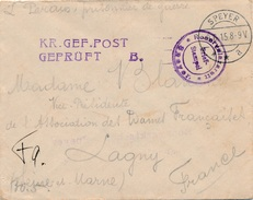 Reserve Lazarett Speyer Geprüft Hopital - Postmark Collection (Covers)