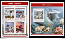 S. TOME & PRINCIPE 2017 - Lighthouses And Shells. M/S + S/S. Official Issue - Schelpen