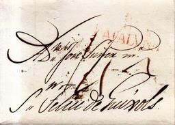 Prefilatelia Año 1820 Aprox Carta Circulada  De Baarcelona A San Feliu De Guixols   Marcas B Cataluña Y Porteo Escrito - ...-1850 Prephilately