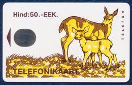 ESTONIA - ESTLAND - ESTONIE 50 EEK CHIP PHONECARD TELEPHONE CARD FAUNA ANIMALS DEER DEERS - Estonia