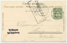 1714 - WALLISELLEN 22.VII.01 Aushilfstempel Auf AK Von ENGELBERG Mit 5 Rp. Wertziffer Frankatur - Poststempel