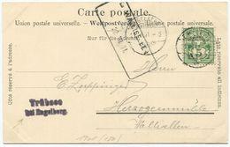 1714 - WALLISELLEN 22.VII.01 Aushilfstempel Auf AK Von ENGELBERG Mit 5 Rp. Wertziffer Frankatur - Marcophilie