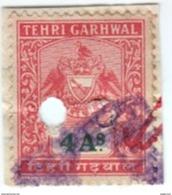 INDIA TEHRI GARHWAL PRINCELY STATE 4-ANNAS REVENUE STAMP 1940-45 GOOD/USED - Inde