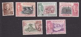 Dominica, Scott #122-124, 127-128, 132, Used, George VI And Scenes Of Dominica, Issued 1951 - Dominica (...-1978)