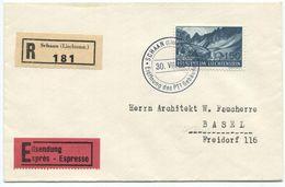 1718 - 1.50 CHF Lawena Auf R-Express Von SCHAAN Nach BASEL - Lettres & Documents
