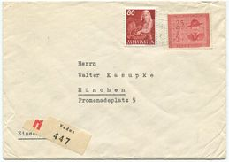 1719 - Seltene MiF Pfadfinder Und Häusle Auf R-Brief Von VADUZ Nach MÜNCHEN (DE) - Liechtenstein