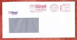 Brief, Pitney Bowes E11-0427, Stilisierte Eule, Buergel Auskunft, 100 Pfg, Darmstadt 1990 (43367) - Machine Stamps (ATM)