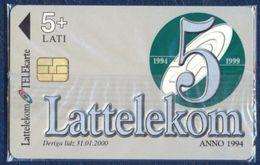 LATVIA - LETTLAND - LETTONIE 5 LATI CHIP PHONECARD TELEPHONE CARD 5th ANNIVERSARY LATTELEKOM ROSE FLOWER MINT SEALED - Latvia
