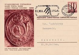 Heimat, Postkarte Altes Basler Postschild Gel. V. St.Gallen N. Sennwald. Werbestempel: Olma St. Gallen 1944 - Stamped Stationery