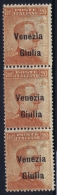 Italy: Venezia  Giulia Sa 23 Postfrisch/neuf Sans Charniere /MNH/** 3 Strip  Signed/ Signé/signiert/ Approvato - Venezia Giulia