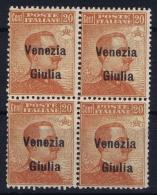 Italy: Venezia  Giulia Sa 23 Postfrisch/neuf Sans Charniere /MNH/** 4-block - Venezia Giulia