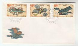 1987 KAMPUCHEA Cambodia FDC Stamps 19TH CENTURY FLIGHT AIRCRAFT DESIGNS  Cover Aviation - Cambodia
