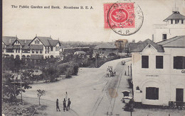 British East Africa PPC The Public Garden And Bank, Mombasa B. E. A. Frontside Franking MOMBASA 1912 (2 Scans) - Kenia