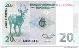 Congo - Pick 83 - 20 Centimes 1997 - Unc - Congo