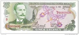 Costa Rica - Pick 236d  - 5 Colones 1989 - AUnc - Costa Rica