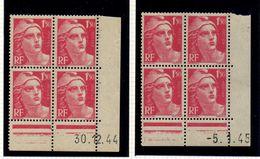 L026N°712 - 1,50 Rose - Marianne De GANDON - Lot De 2 Coins Datés * Et ** - Dated Corners