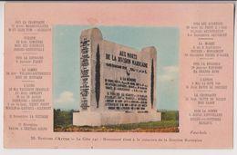 GIVENCHY EN GOHELLE (VERS ARRAS )  MONUMENT EN MEMOIRE DE LA DIVISION MAROCAINE EDIFIE EN 1925 - GUERRE 1914 - 2 SCANS - - Monuments Aux Morts