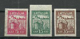 LETTLAND Latvia 1919 Michel 25 - 27 Y (Zigarettenpapier) MNH - Lettonie
