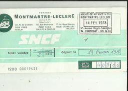 Titre De Transports _Agence De Voyages MONTMARTRE-LECLERC A Champigny 94 Du 14-02-1978-4 Billets - Europe